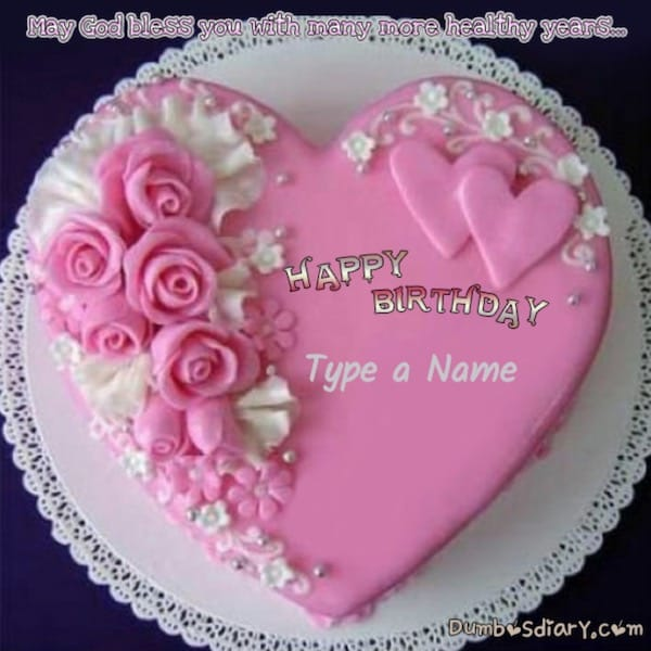Pink Roses Heart Birthday Cake