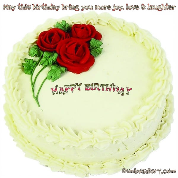 Red Roses Creamy Birthday Cake