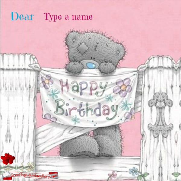 Cute Bear Birthday Card With Own Name