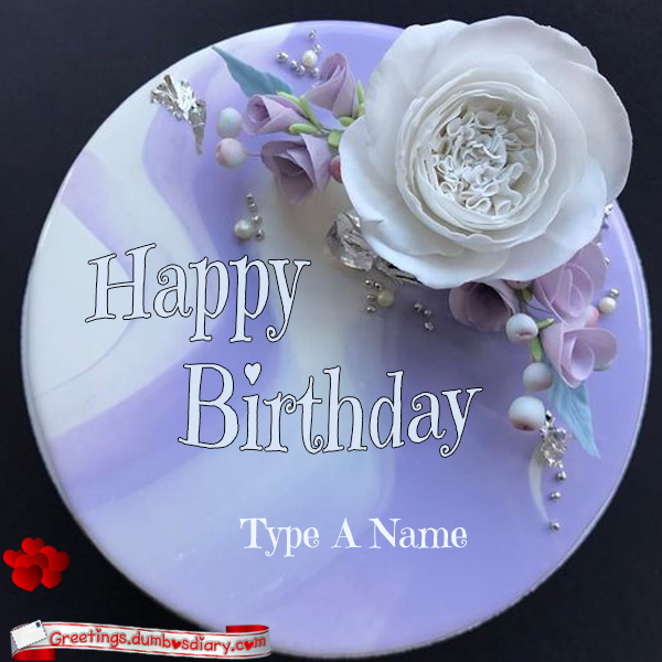 marble flower birthday cake