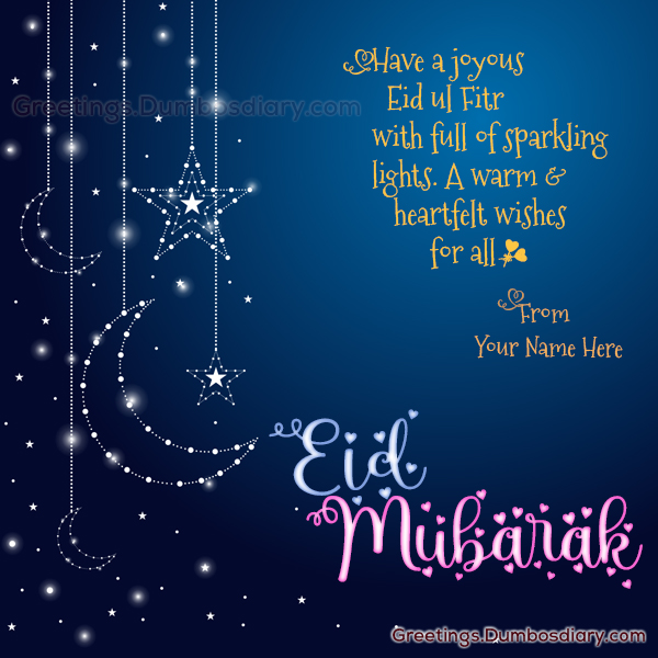 Sparkling Moon Star Eid Wishes cover